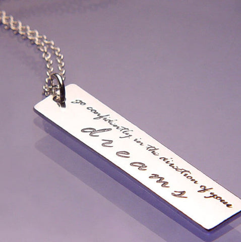 Go Confidently Thoreau Quote Necklace