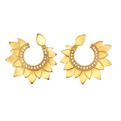 Gold Lotus Petal Swirl Earrings