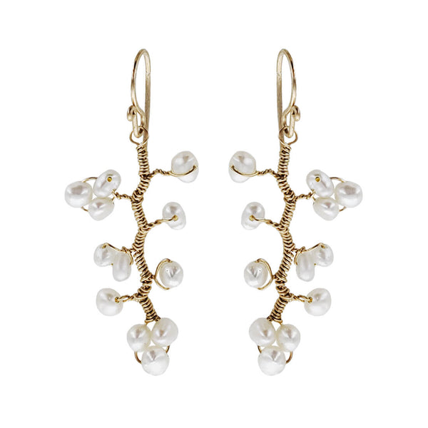 Golden Branches With Pearls Earrings