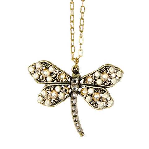 Anne Koplik Golden Shadow Dragonfly Pendant Necklace