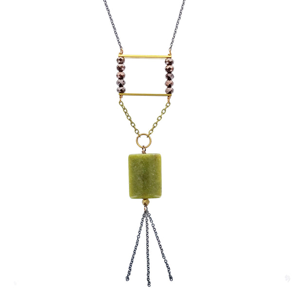 Edgy Petal Green Jade Long Tassel Necklace