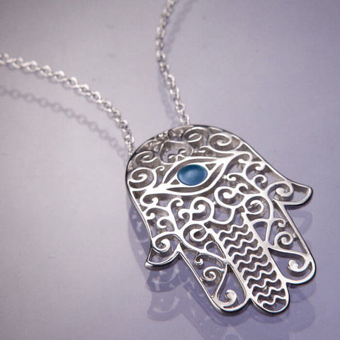 Hamsa Filigree Pendant Necklace