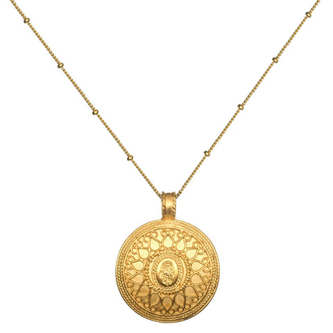 Satya Gold Hamsa Mandala Necklace
