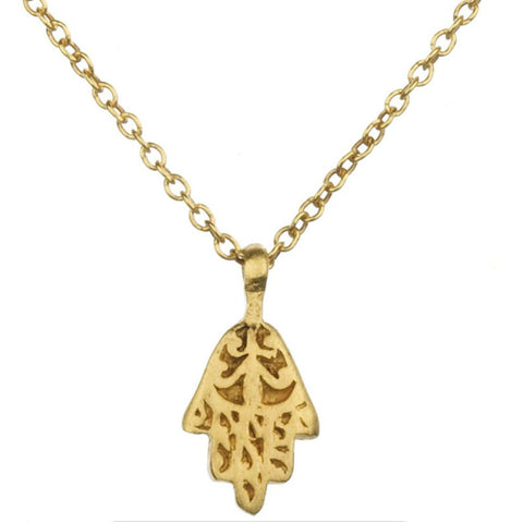 Petite Decorative Gold Hamsa Necklace