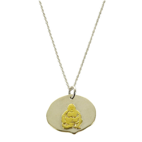 Happy Buddha Gold On Sterling Necklace