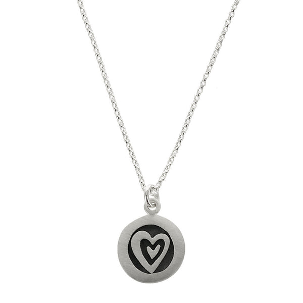 Double Heart Sterling Silver Round Pendant Necklace