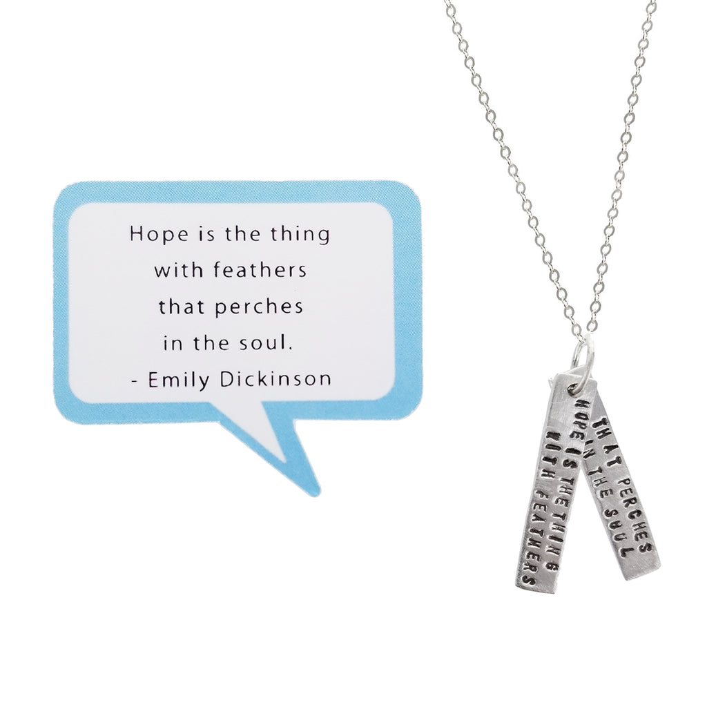 Hope Perches In The Soul Emily Dickinson Quote Necklace Sheva Jewelry