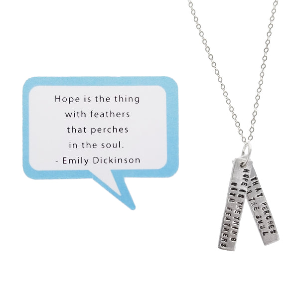 Hope Perches In The Soul Emily Dickinson Quote Necklace