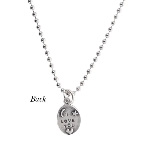 I Love You To The Moon And Back Necklace Sterling Silver Backside