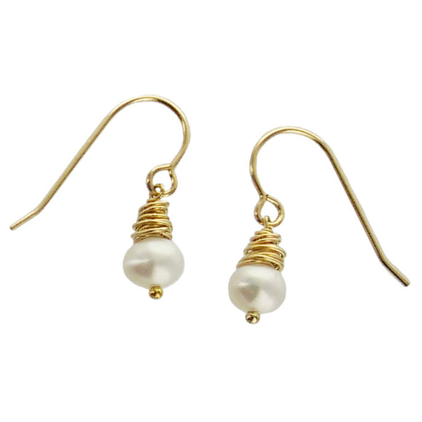 J & I Goldfilled Wrapped Pearl Earrings