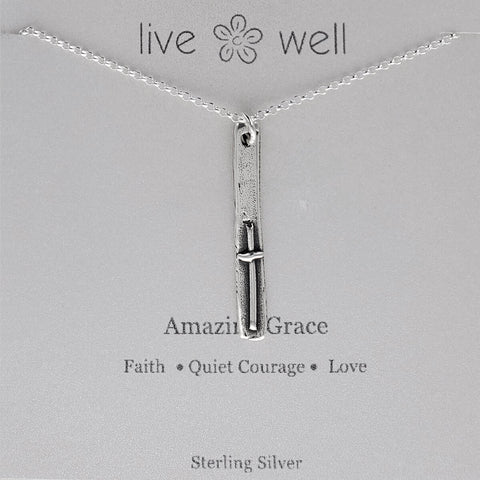 Inspirational Amazing Grace Quiet Courage Quote Necklace
