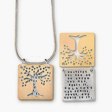 Kathy Bransfield Geothe Dream Quote Tree Necklace