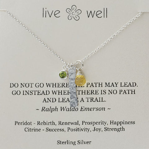 "Inspirational ""Leave A Trail"" Emerson Quote Gemstone Necklace"