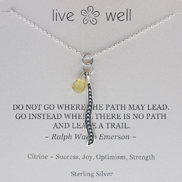 "Inspirational ""Leave A Trail"" Emerson Quote Necklace"
