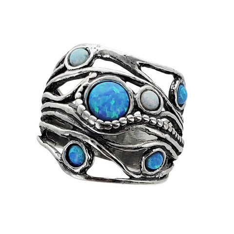 Israeli Beaded Trail Of Opals Sterling Band Ring