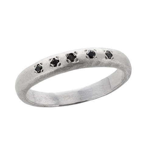 Israeli Black Diamond Sterling Stackable Ring By Ithil Metal Works