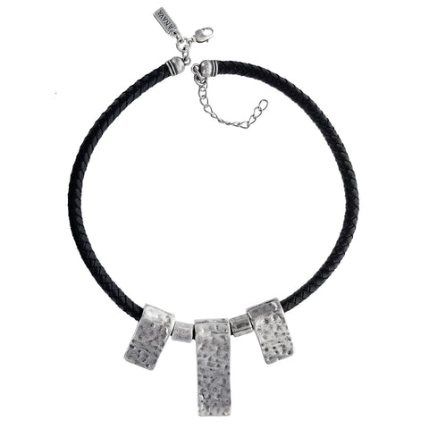Israeli Braided Leather Hammered Tabs Anava Necklace