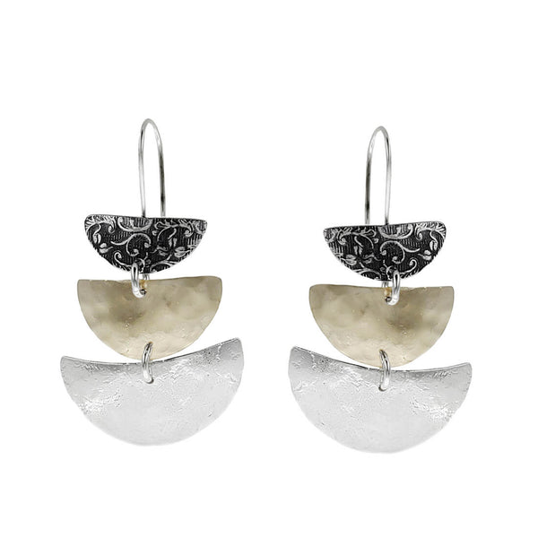 Israeli Dganit Cascading Crescent Tiers Earrings