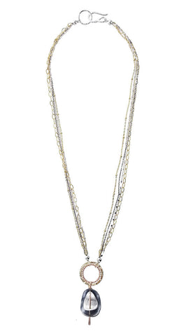 Israeli Dganit Chen Sparkling Multi Chain Reversable Pendant Necklace Full View