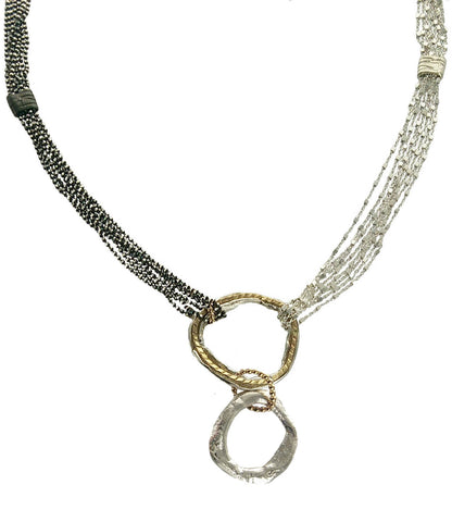 Israeli Double Hoop Beaded Chain Necklace