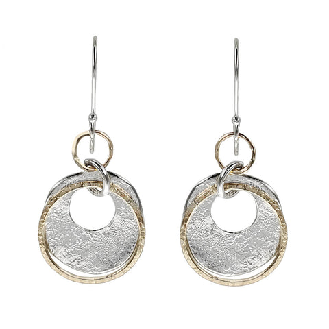 Israeli Dganit Hen Bright Silver Gold Open Connected Hoop Earrings
