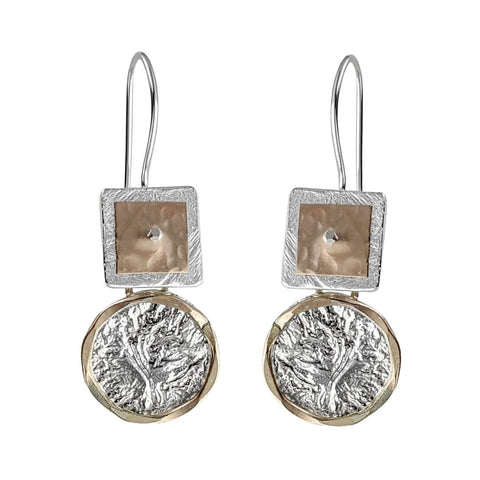 Israeli Dganit Hen Gold On Silver Frame Encircled Tree Of Life Earrings