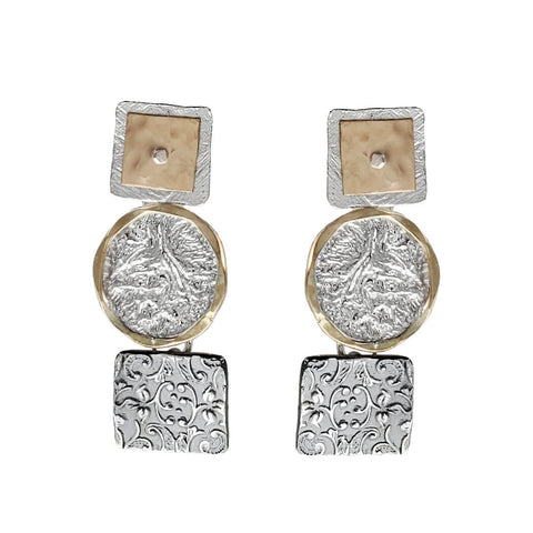 Israeli Dganit Hen Gold On Silver Triple Drop Post Earrings