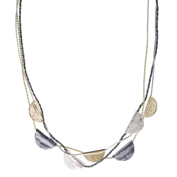 Israeli Dganit Hen Gold Silver Folded Half Moons Necklace