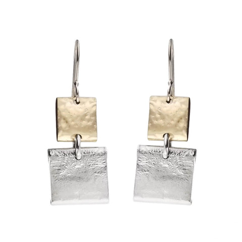 Israeli Dganit Hen Gold Silver Squares Earrings
