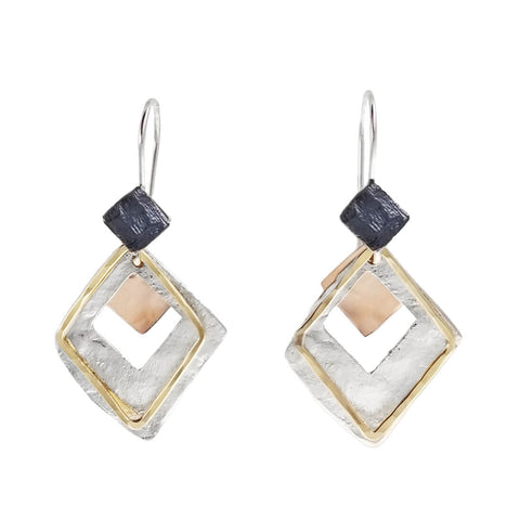 Israeli Dganit Hen Layered Diamond Shapes Earrings