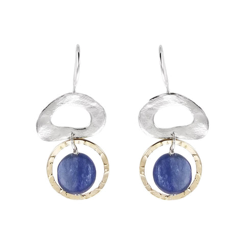 Israeli Dganit Hen Mixed Metal Blue Lapis Hoop Earrings