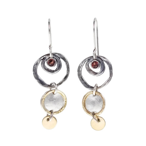 Israeli Dganit Hen Mixed Metal Garnet Double Circles Earrings