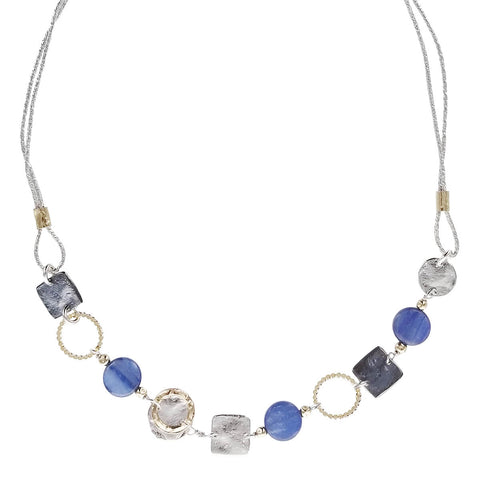 Israeli Dganit Hen Mixed Metals Shapes Lapis Necklace