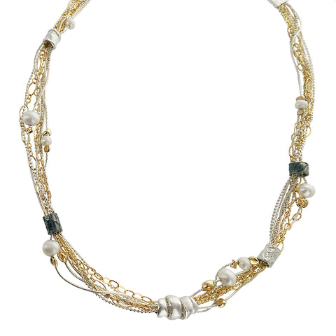 Israeli Dganit Hen Delicious Mixed Metal Strands Beads Necklace
