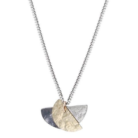 Israeli Dganit Hen Mixed Metals Half Moons Pendant Necklace
