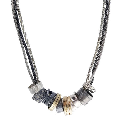 Israeli Dganit Hen Mixed Metals Rings Necklace