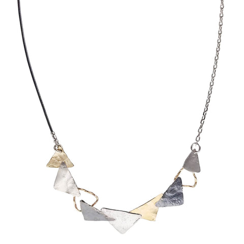 Israeli Dganit Hen Mixed Metals Triangles Necklace