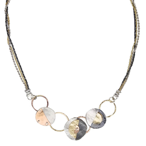 Israeli Dganit Hen Multi Chain Artisan Circle Necklace