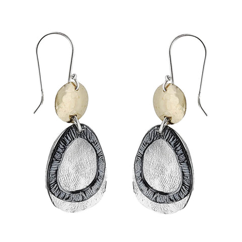 Israeli Dganit Hen Silver Droplets Beneath The Sun Earrings