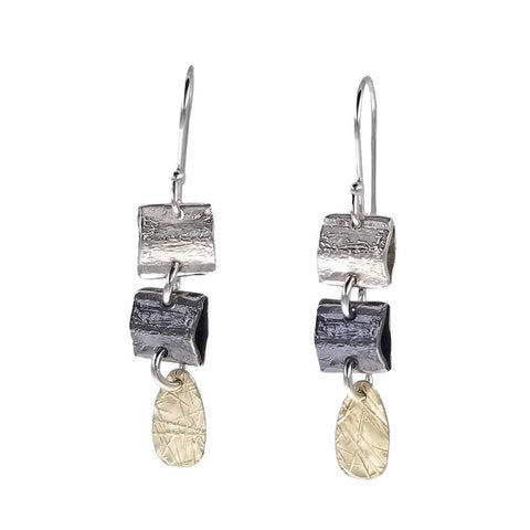 Israeli Dganit Hen Textured Squares Teardrop Earrings