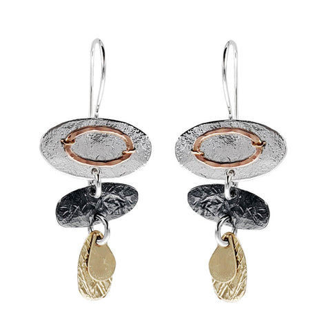 Israeli Dganit Hen Three Linked Tiers Earrings