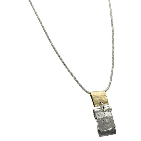 Israeli Mixed Metal Organic Rectangles Pendant Necklace