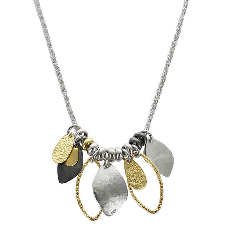 Israeli Mixed Metal Textured Shapes Necklace