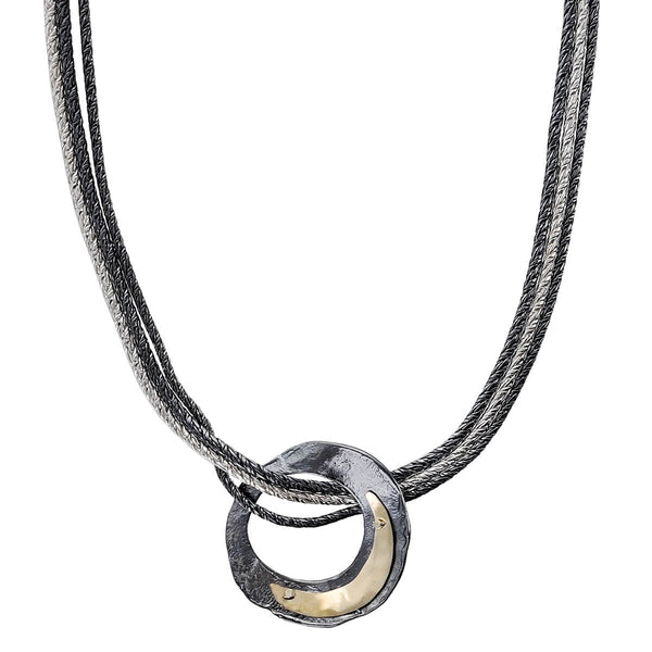 Israeli Dganit Night Sky Crescent Moon Pendant Necklace