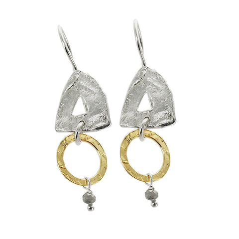 Israeli Triangle Circle Mini Drop Earrings