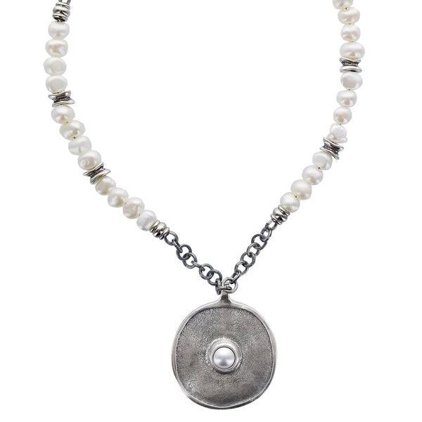 Israeli Disc Pendant Pearl Chain Anava Necklace