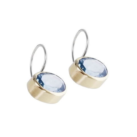 Israeli Faceted Blue Topaz Earrings Side View