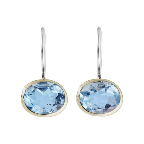 Israeli Faceted Blue Topaz Earrings