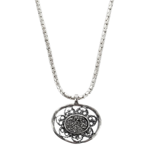 Israeli Filigree Oval Druzy Necklace