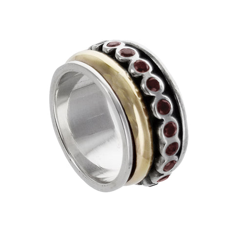 Israeli Garnet Sterling Gold Spinner Ring By Ithil